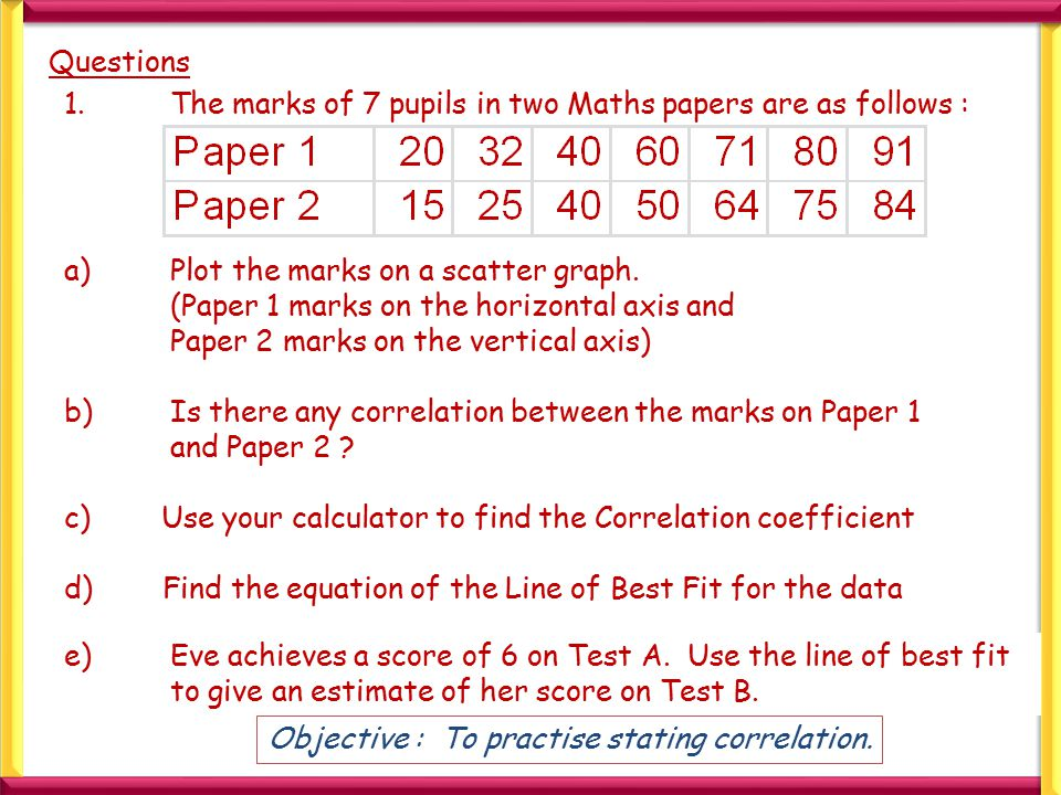 Questions 1.The marks of 7 pupils in two Maths papers are as follows : a)Plot the marks on a scatter graph. (Paper 1 marks on the horizontal axis and