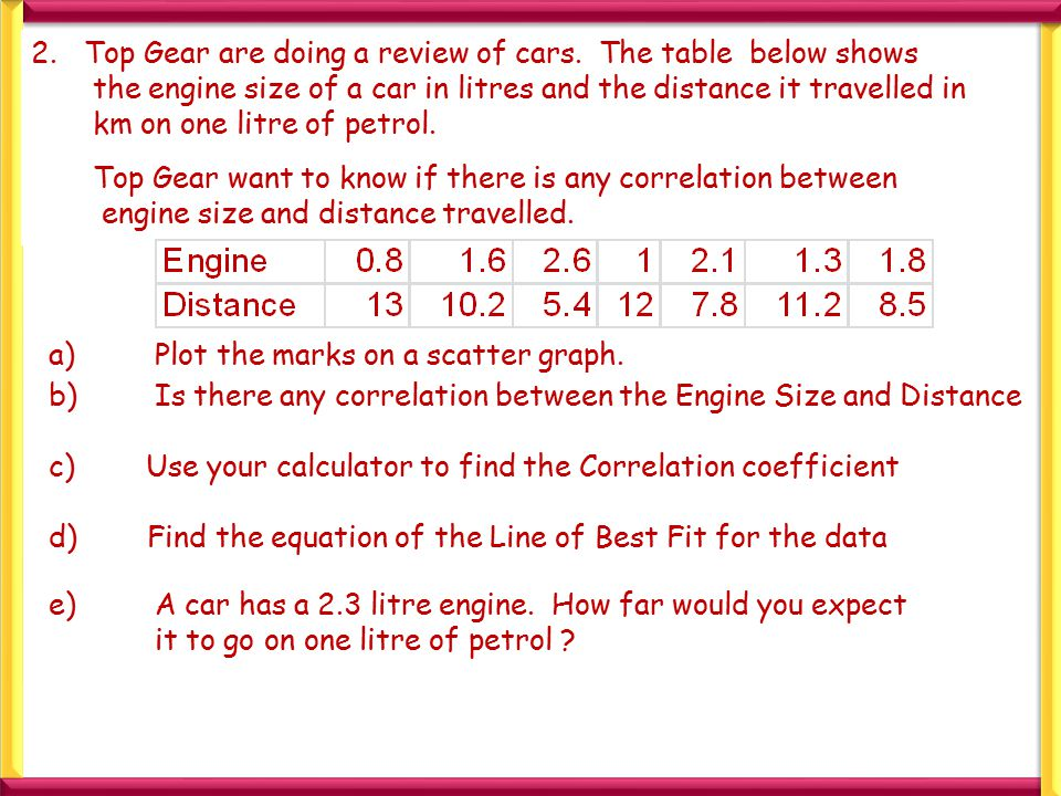2.Top Gear are doing a review of cars. The table below shows the engine size of a car in litres and the distance it travelled in km on one litre of pe