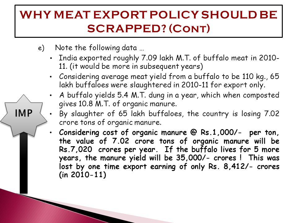 e) Note the following data … India exported roughly 7.09 lakh M.T. of buffalo meat in 2010- 11. (it would be more in subsequent years) Considering ave