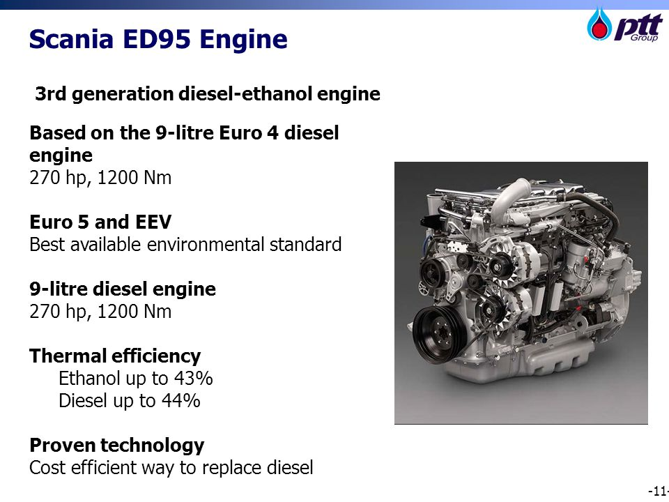 -11- Scania ED95 Engine 3rd generation diesel-ethanol engine Based on the 9-litre Euro 4 diesel engine 270 hp, 1200 Nm Euro 5 and EEV Best available environmental standard 9-litre diesel engine 270 hp, 1200 Nm Thermal efficiency Ethanol up to 43% Diesel up to 44% Proven technology Cost efficient way to replace diesel
