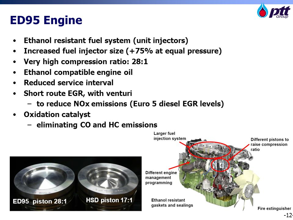 -12- Ethanol resistant fuel system (unit injectors) Increased fuel injector size (+75% at equal pressure) Very high compression ratio: 28:1 Ethanol compatible engine oil Reduced service interval Short route EGR, with venturi –to reduce NOx emissions (Euro 5 diesel EGR levels) Oxidation catalyst –eliminating CO and HC emissions ED95 piston 28:1 HSD piston 17:1 ED95 Engine