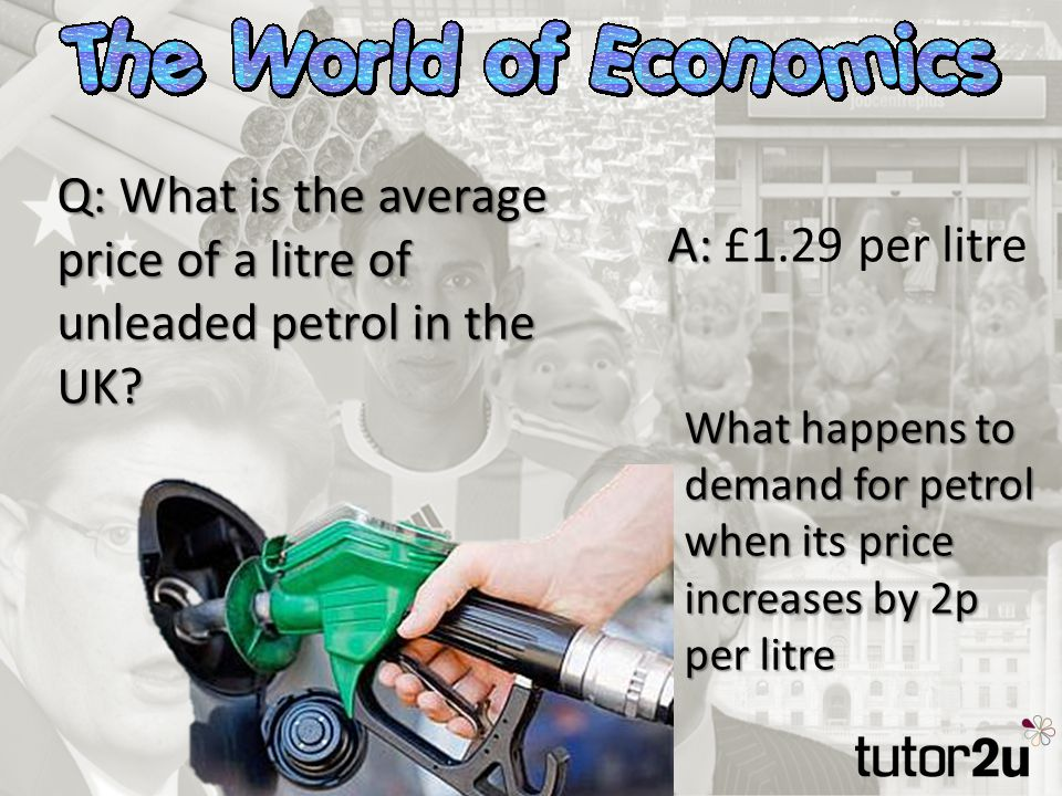 Q: What is the average price of a litre of unleaded petrol in the UK.