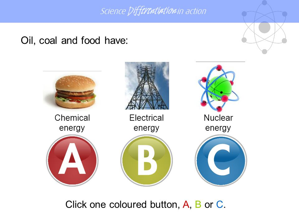 Science Differentiation in action Oil, coal and food have: Electrical energy Chemical energy Nuclear energy Click one coloured button, A, B or C.