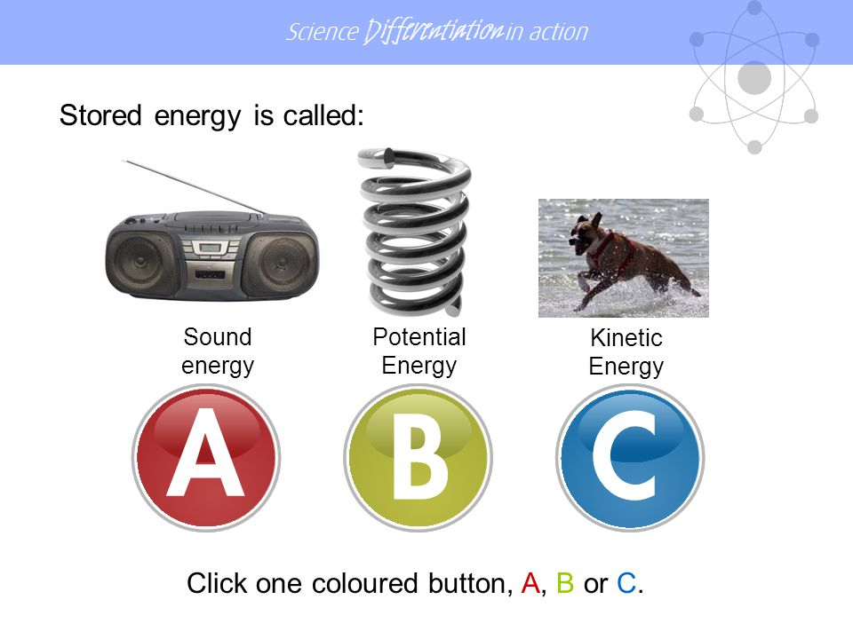 Science Differentiation in action Stored energy is called: Sound energy Potential Energy Kinetic Energy Click one coloured button, A, B or C.