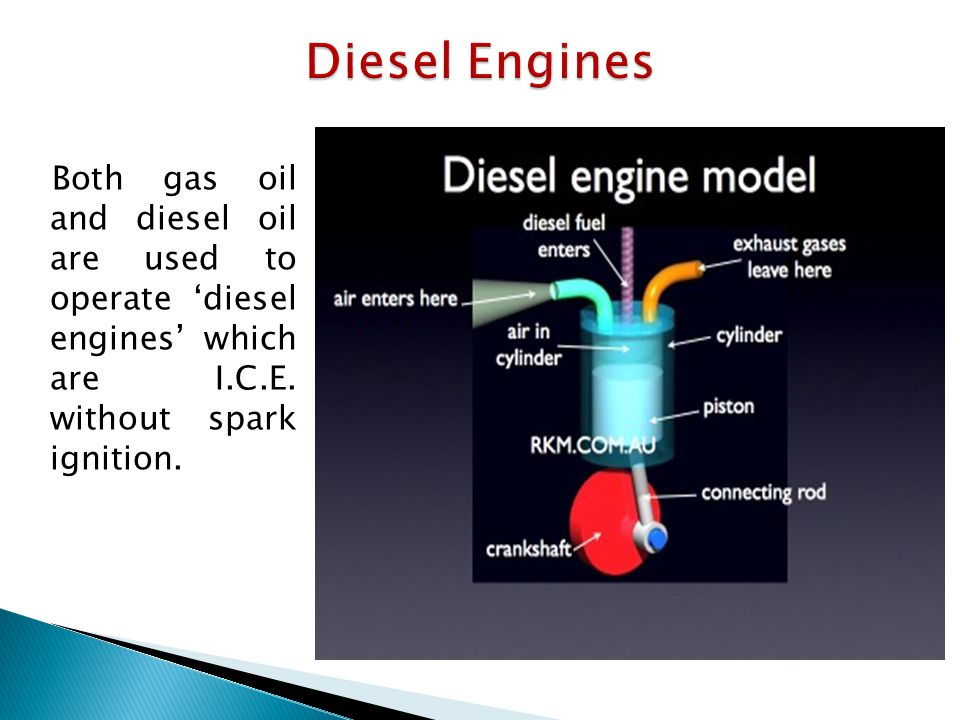 Both gas oil and diesel oil are used to operate 'diesel engines' which are I.C.E.