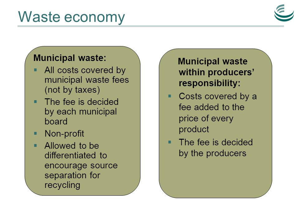 Waste economy Municipal waste:  All costs covered by municipal waste fees (not by taxes)  The fee is decided by each municipal board  Non-profit  Allowed to be differentiated to encourage source separation for recycling Municipal waste within producers' responsibility:  Costs covered by a fee added to the price of every product  The fee is decided by the producers