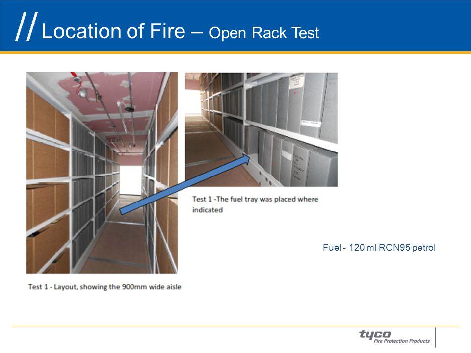 Location of Fire – Open Rack Test 14 Fuel - 120 ml RON95 petrol