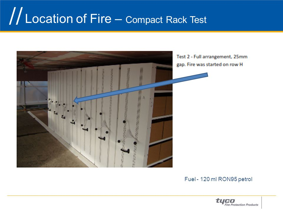 Location of Fire – Compact Rack Test 20 Fuel - 120 ml RON95 petrol