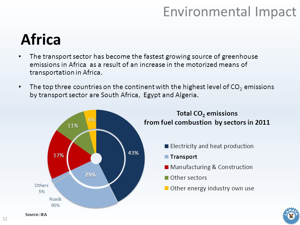 Environmental Impact Africa Source: IEA The transport sector has become the fastest growing source of greenhouse emissions in Africa as a result of an increase in the motorized means of transportation in Africa.