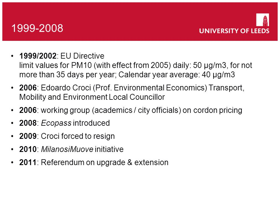 1999/2002: EU Directive limit values for PM10 (with effect from 2005) daily: 50 μg/m3, for not more than 35 days per year; Calendar year average: 40 μg/m3 2006: Edoardo Croci (Prof.