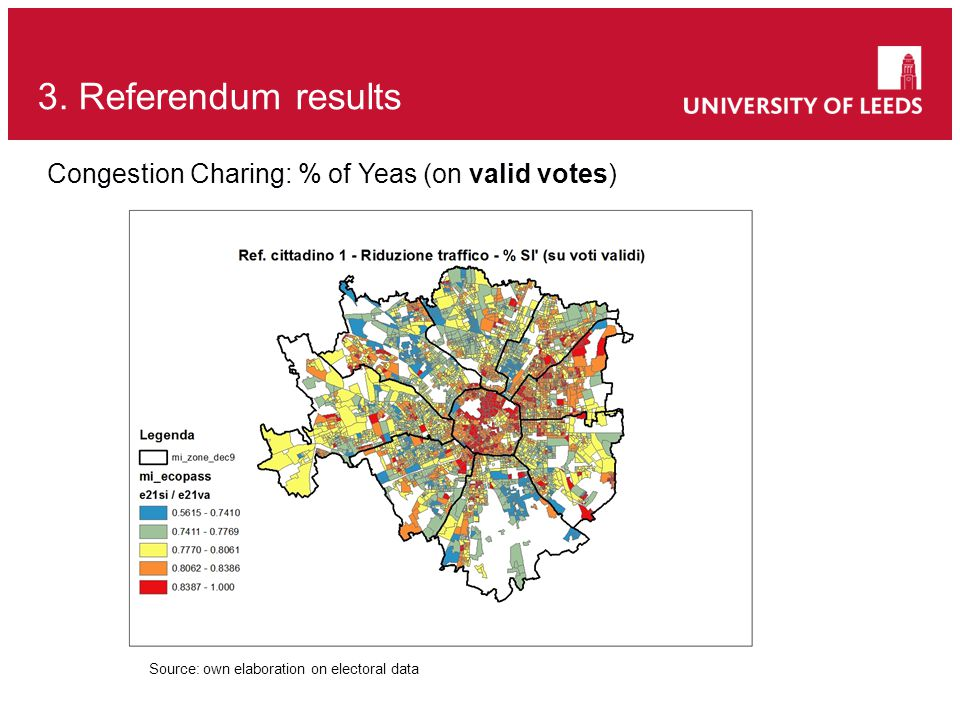 3. Referendum results Source: own elaboration on electoral data Congestion Charing: % of Yeas (on valid votes)