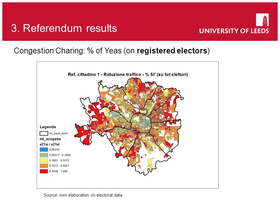 3. Referendum results Source: own elaboration on electoral data Congestion Charing: % of Yeas (on registered electors)