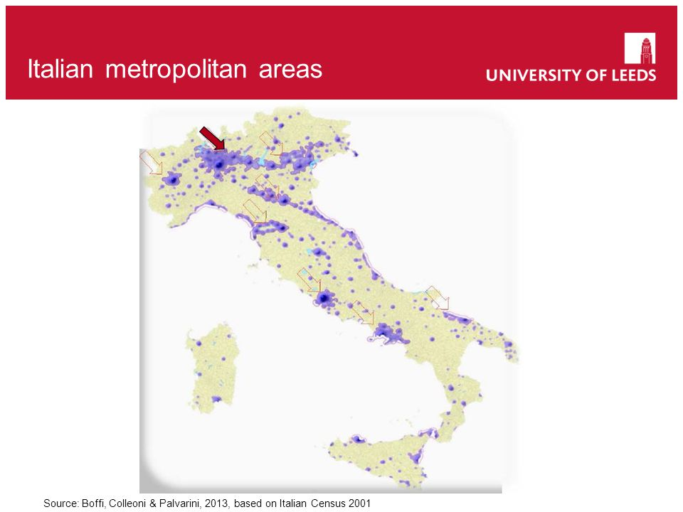 Italian metropolitan areas Source: Boffi, Colleoni & Palvarini, 2013, based on Italian Census 2001