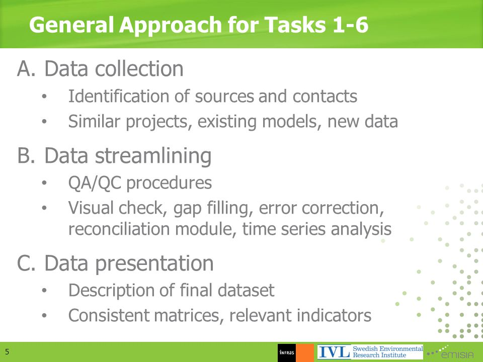 General Approach for Tasks 1-6 A.Data collection Identification of sources and contacts Similar projects, existing models, new data B.Data streamlining QA/QC procedures Visual check, gap filling, error correction, reconciliation module, time series analysis C.Data presentation Description of final dataset Consistent matrices, relevant indicators 5