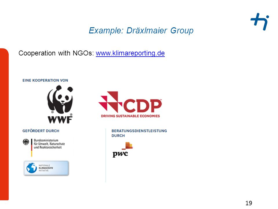 Example: Dräxlmaier Group 19 Cooperation with NGOs: www.klimareporting.dewww.klimareporting.de
