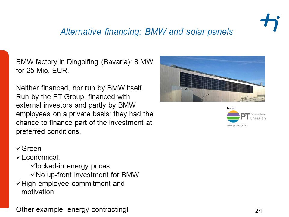 Alternative financing: BMW and solar panels 24 BMW factory in Dingolfing (Bavaria): 8 MW for 25 Mio.