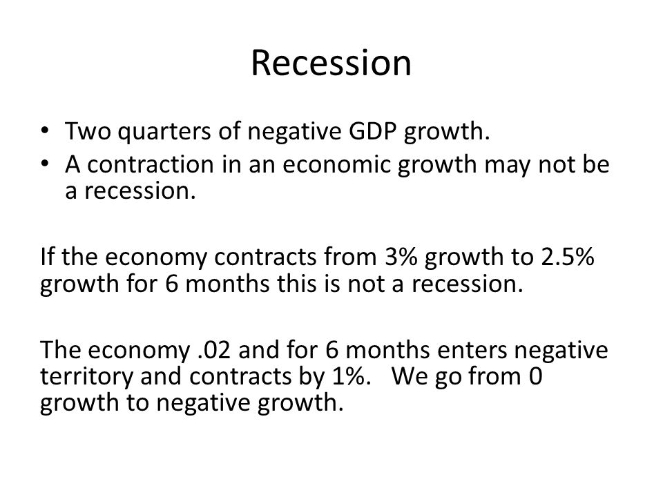 Recession Two quarters of negative GDP growth.