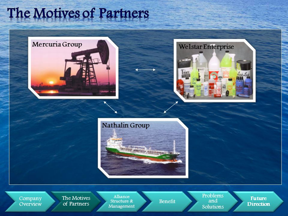 Company Overview The Motives of Partners Alliance Structure & Management Benefit Problems and Solutions Future Direction Welstar Enterprise Mercuria Group Nathalin Group