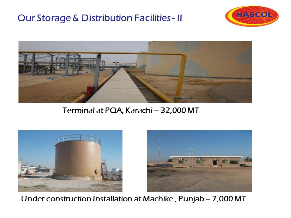 Terminal at PQA, Karachi – 32,000 MT Under construction Installation at Machike, Punjab – 7,000 MT Our Storage & Distribution Facilities - II