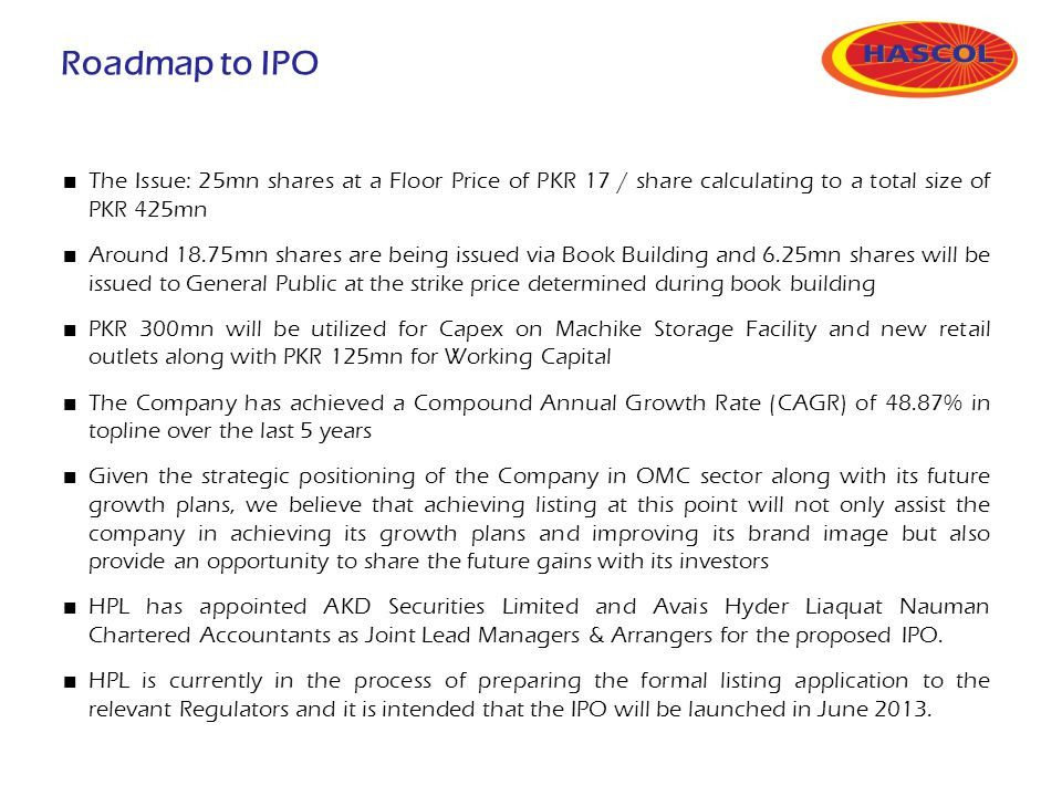Roadmap to IPO The Issue: 25mn shares at a Floor Price of PKR 17 / share calculating to a total size of PKR 425mn Around 18.75mn shares are being issu