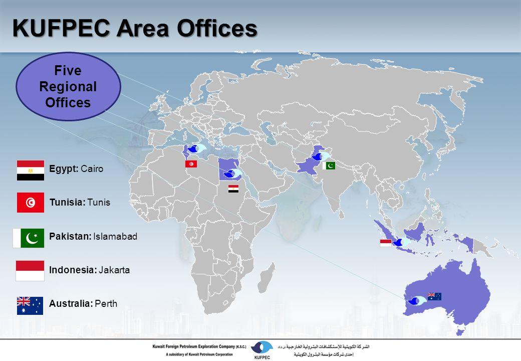 Egypt: Cairo Tunisia: Tunis Pakistan: Islamabad Indonesia: Jakarta Australia: Perth Five Regional Offices KUFPEC Area Offices