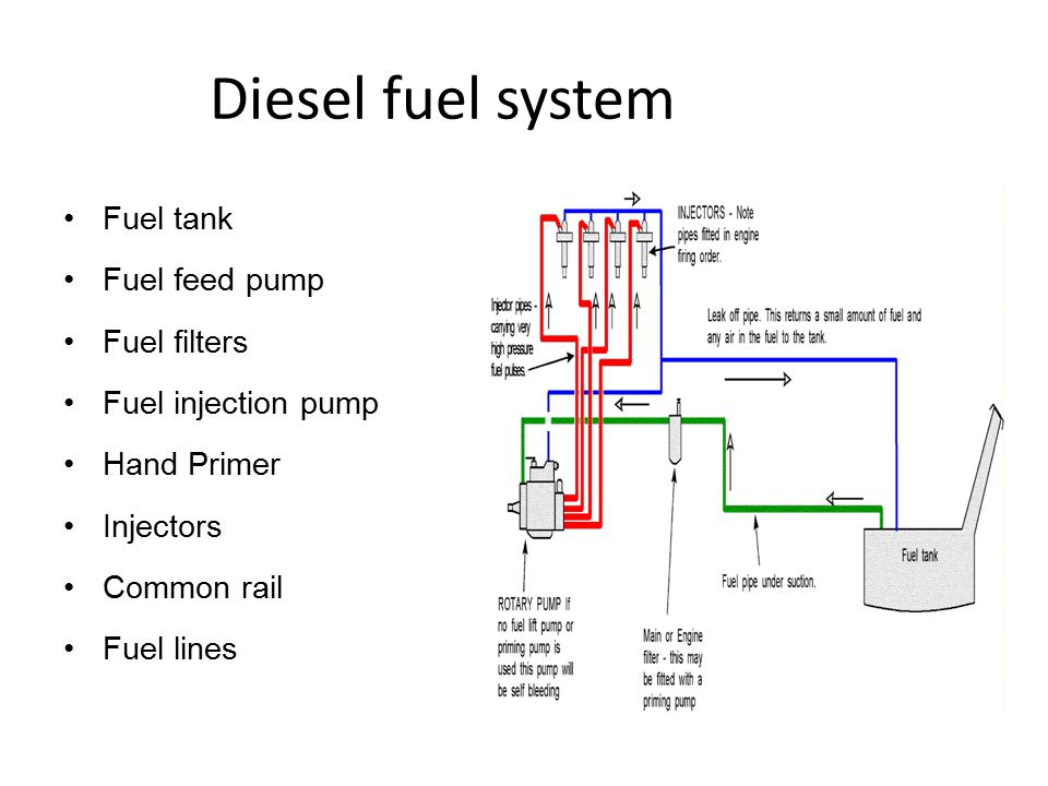 Diesel fuel system Fuel tank Fuel feed pump Fuel filters Fuel injection pump Hand Primer Injectors Common rail Fuel lines