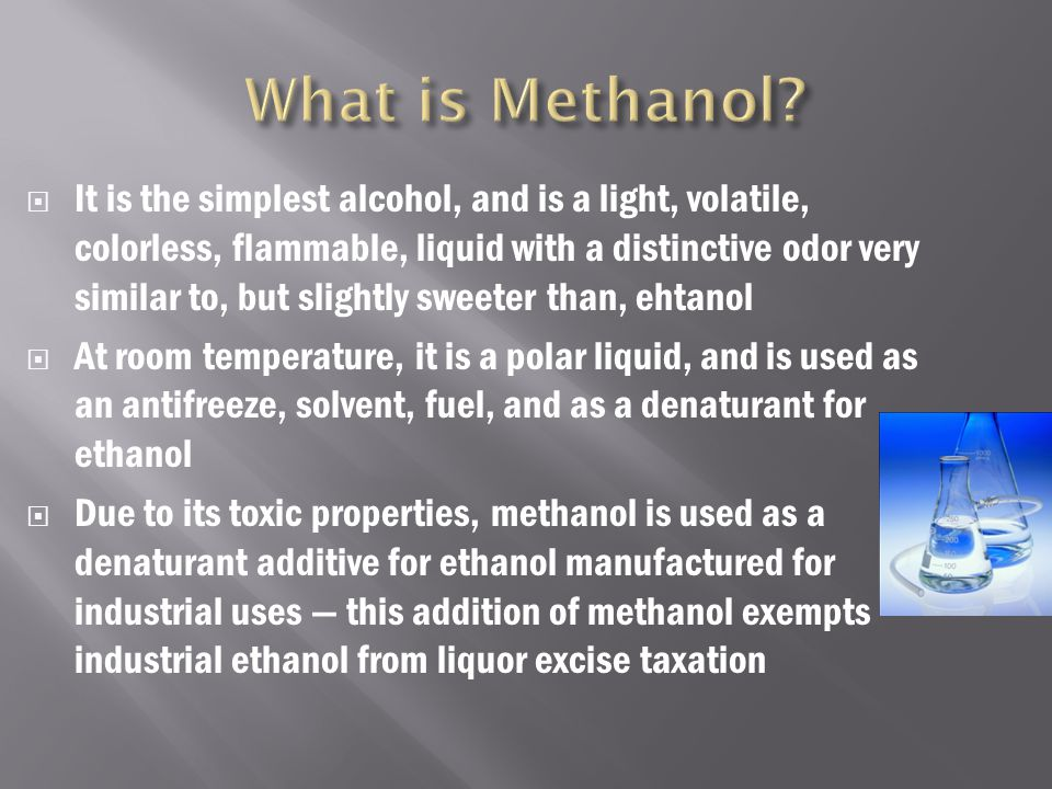  The disadvantages basically consist of the same negative effects as methanol