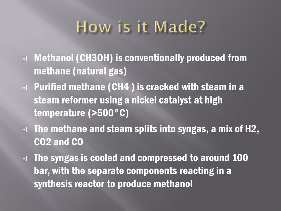  It is also used for producing biodiesel via transesterification reaction  Methanol burns in air, forming carbon dioxide and water  Basic organic material that is used to make formaldehyde, acitic acid, methylic halid, DMC  It is used as a cheap organic material and solvent in pesticides, medicine, dye