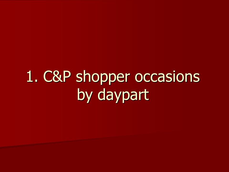 1. C&P shopper occasions by daypart