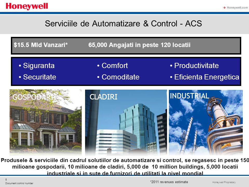 Honeywell Proprietary Honeywell.com  5 Document control number Serviciile de Automatizare & Control - ACS GOSPODARII INDUSTRIAL CLADIRI Comfort Comoditate Siguranta Securitate Productivitate Eficienta Energetica $15.5 Mld Vanzari* 65,000 Angajati in peste 120 locatii *2011 revenues estimate Produsele & serviciile din cadrul solutiilor de automatizare si control, se regasesc in peste 150 milioane gospodarii, 10 milioane de cladiri, 5,000 de 10 million buildings, 5,000 locatii industriale si in sute de furnizori de utilitati la nivel mondial