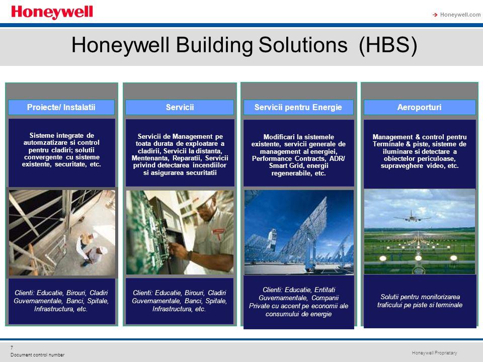 Honeywell Proprietary Honeywell.com  7 Document control number Honeywell Building Solutions (HBS) Proiecte/ Instalatii Sisteme integrate de automzatizare si control pentru cladiri; solutii convergente cu sisteme existente, securitate, etc.