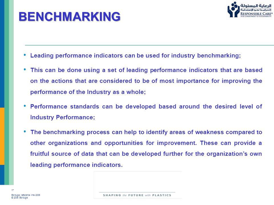 17 Borouge reference line 2006 © 2006 Borouge BENCHMARKING Leading performance indicators can be used for industry benchmarking; This can be done usin