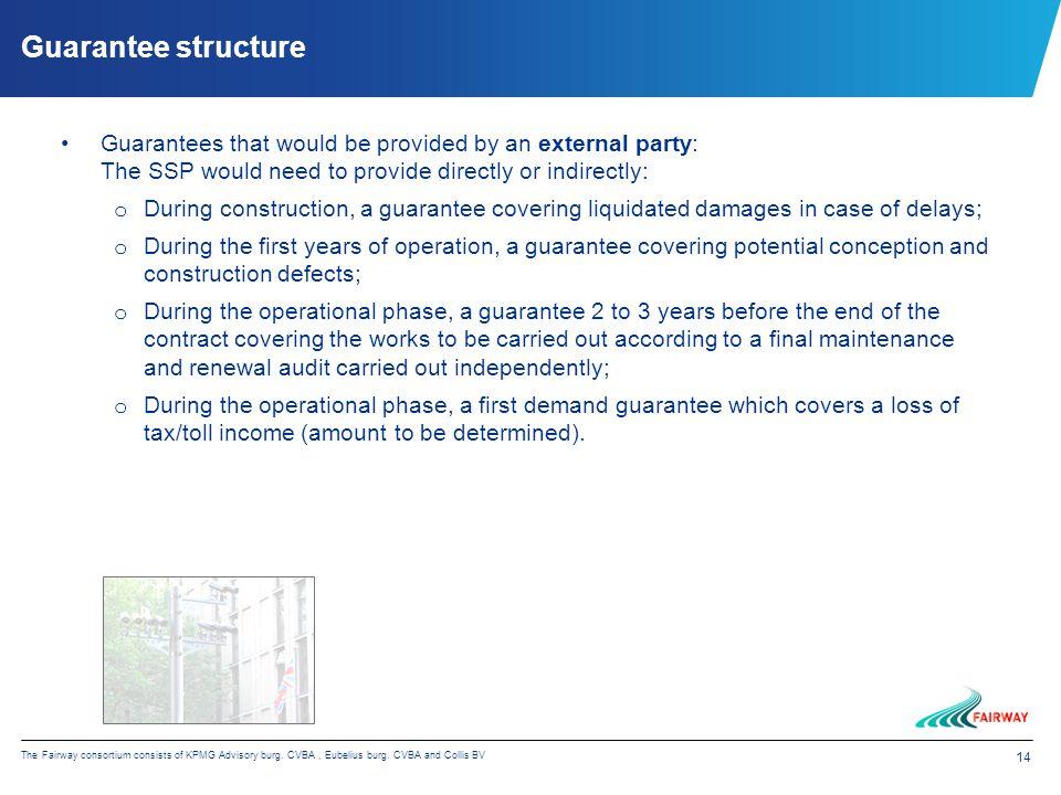 14 The Fairway consortium consists of KPMG Advisory burg. CVBA, Eubelius burg. CVBA and Collis BV Guarantee structure Guarantees that would be provide