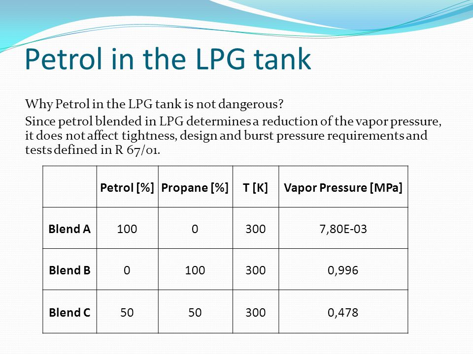 Petrol in the LPG tank Why Petrol in the LPG tank is not dangerous? Since petrol blended in LPG determines a reduction of the vapor pressure, it does