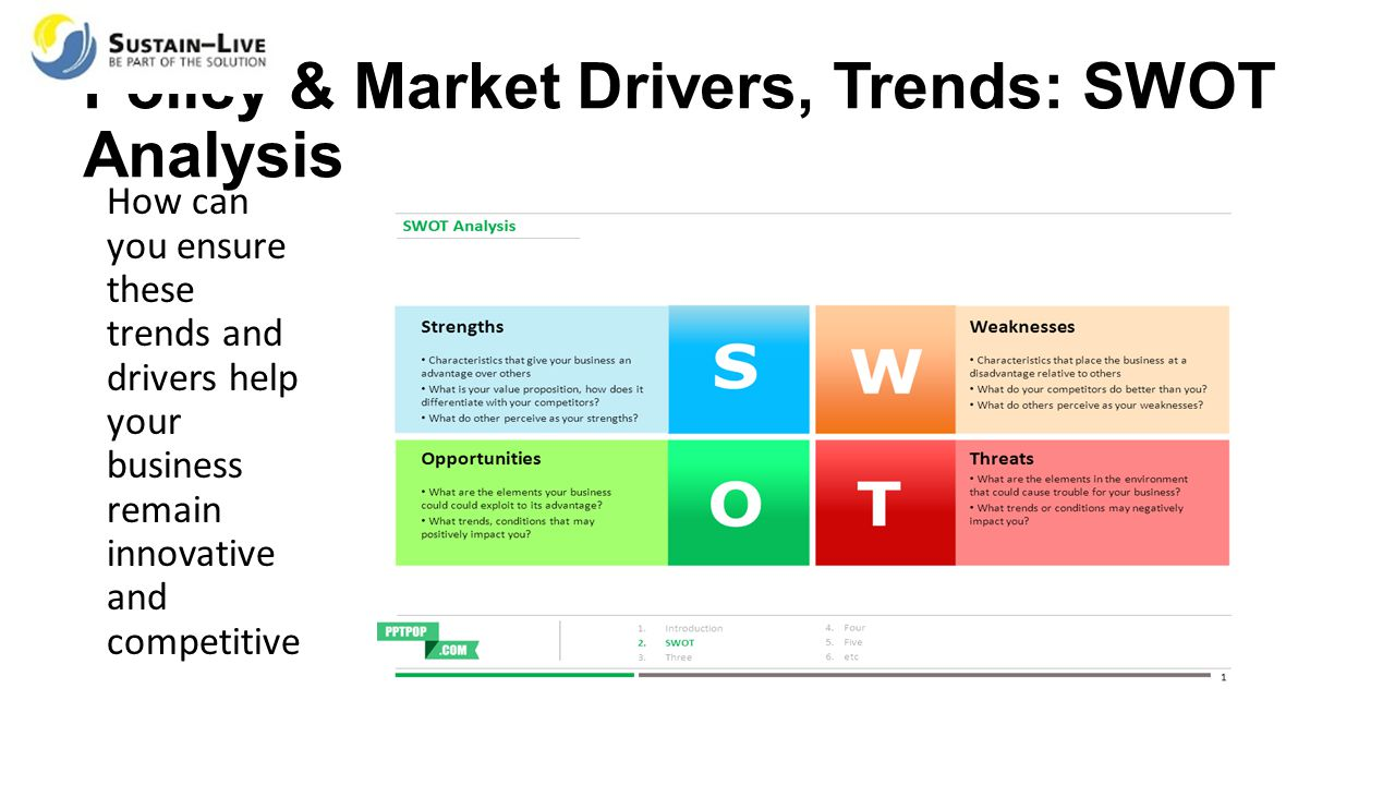 Policy & Market Drivers, Trends: SWOT Analysis How can you ensure these trends and drivers help your business remain innovative and competitive