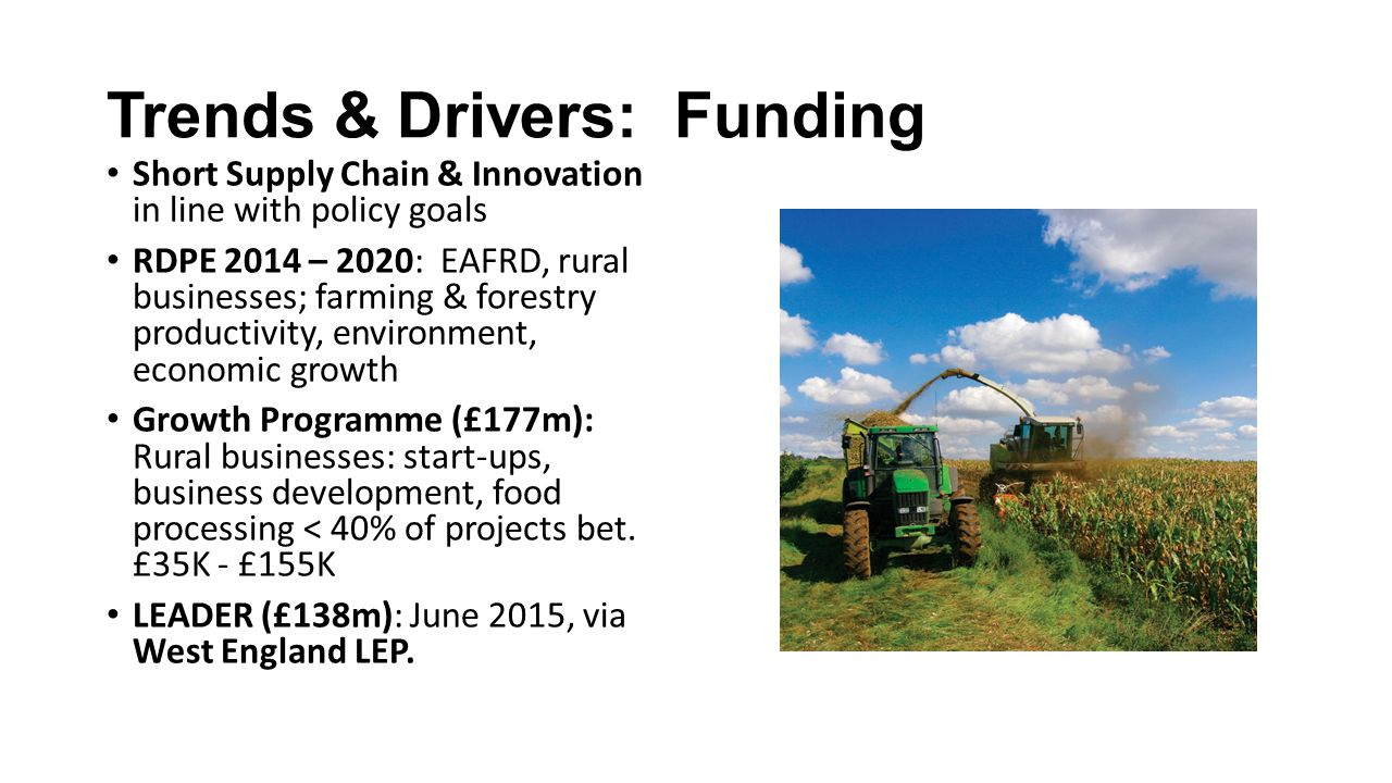 Trends & Drivers: Funding Short Supply Chain & Innovation in line with policy goals RDPE 2014 – 2020: EAFRD, rural businesses; farming & forestry productivity, environment, economic growth Growth Programme (£177m): Rural businesses: start-ups, business development, food processing < 40% of projects bet.