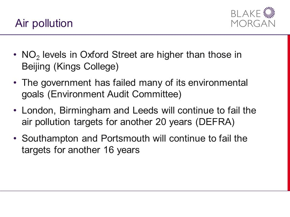 Air pollution NO 2 levels in Oxford Street are higher than those in Beijing (Kings College) The government has failed many of its environmental goals (Environment Audit Committee) London, Birmingham and Leeds will continue to fail the air pollution targets for another 20 years (DEFRA) Southampton and Portsmouth will continue to fail the targets for another 16 years