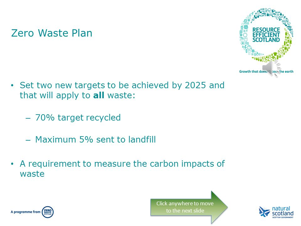Zero Waste Plan Sets out the Scottish Government's vision for a zero waste society Describes a Scotland where all waste is seen as a resource Sets new measures for: – Waste prevention – Landfill bans – Separate collection of materials – Restriction on inputs to energy from waste – Good practice and improved information Click anywhere to move to the next slide