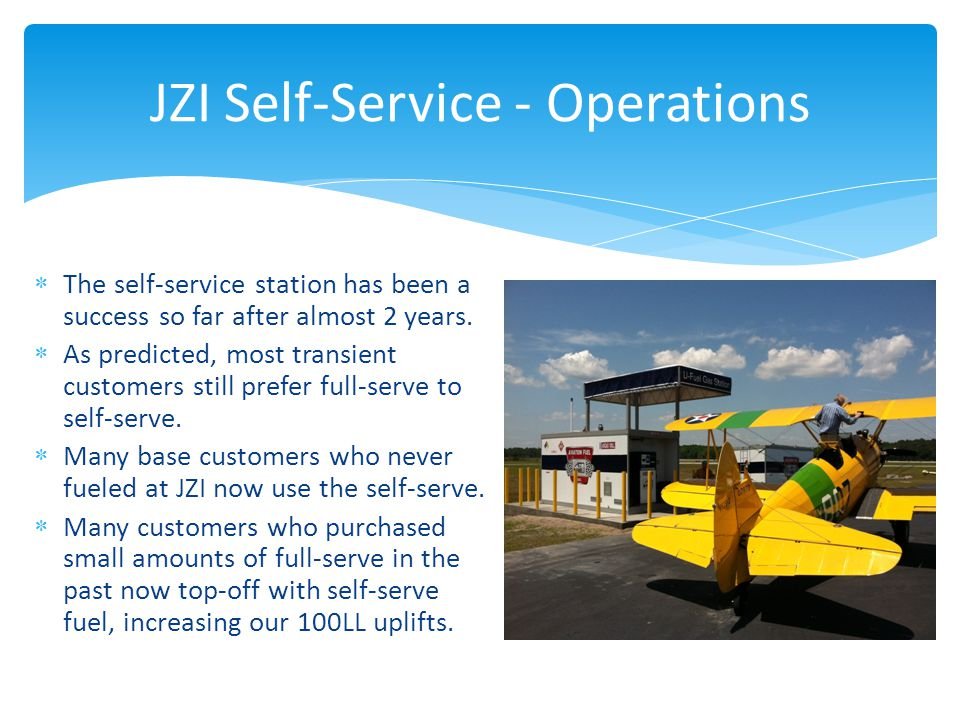 JZI Self-Service - Operations  The self-service station has been a success so far after almost 2 years.