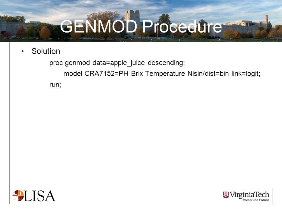 GENMOD Procedure Solution proc genmod data=apple_juice descending; model CRA7152=PH Brix Temperature Nisin/dist=bin link=logit; run;