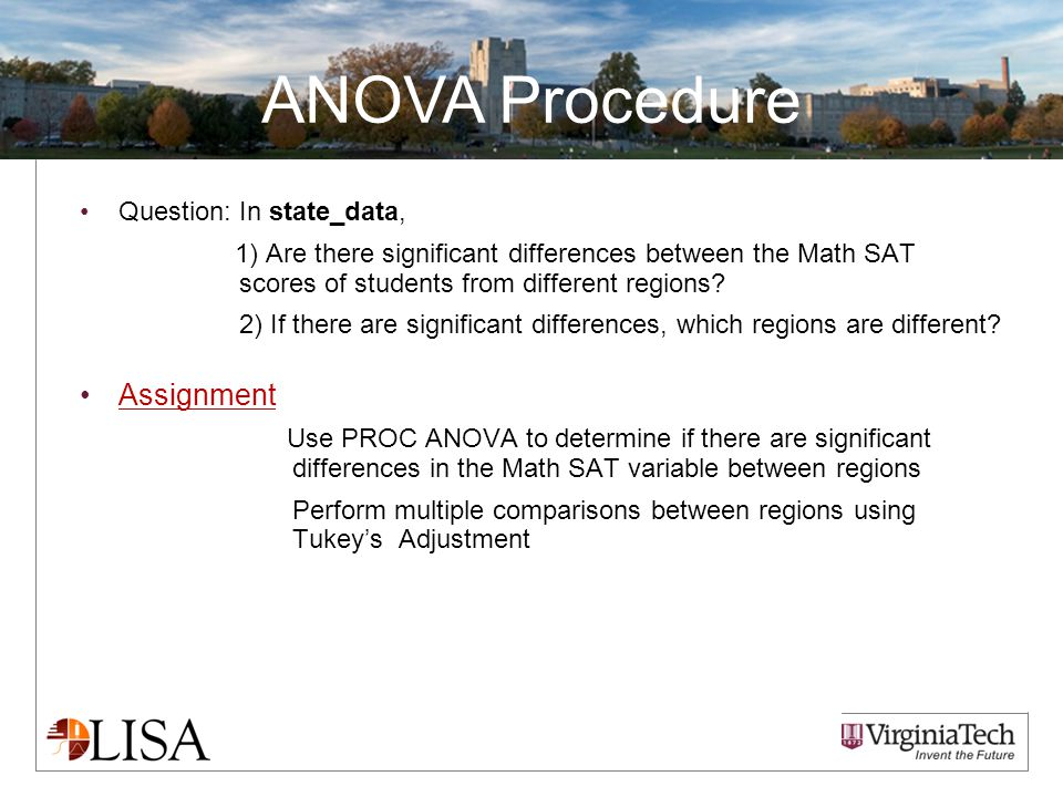 ANOVA Procedure Question:In state_data, 1) Are there significant differences between the Math SAT scores of students from different regions.