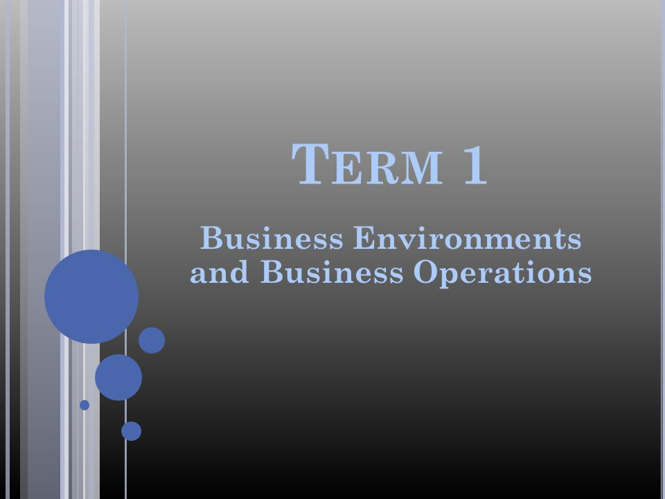T ERM 1 Business Environments and Business Operations