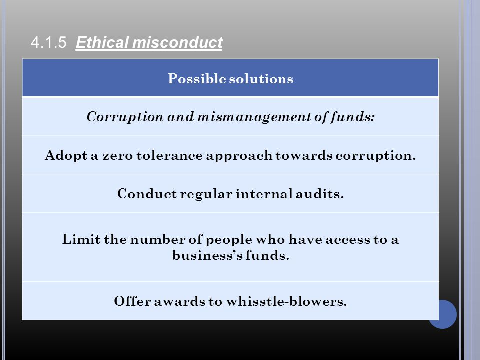 4.1.5 Ethical misconduct Possible solutions Corruption and mismanagement of funds: Adopt a zero tolerance approach towards corruption.