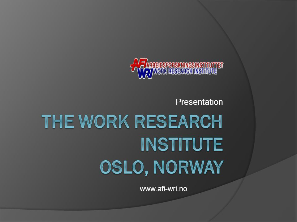 Presentation www.afi-wri.no