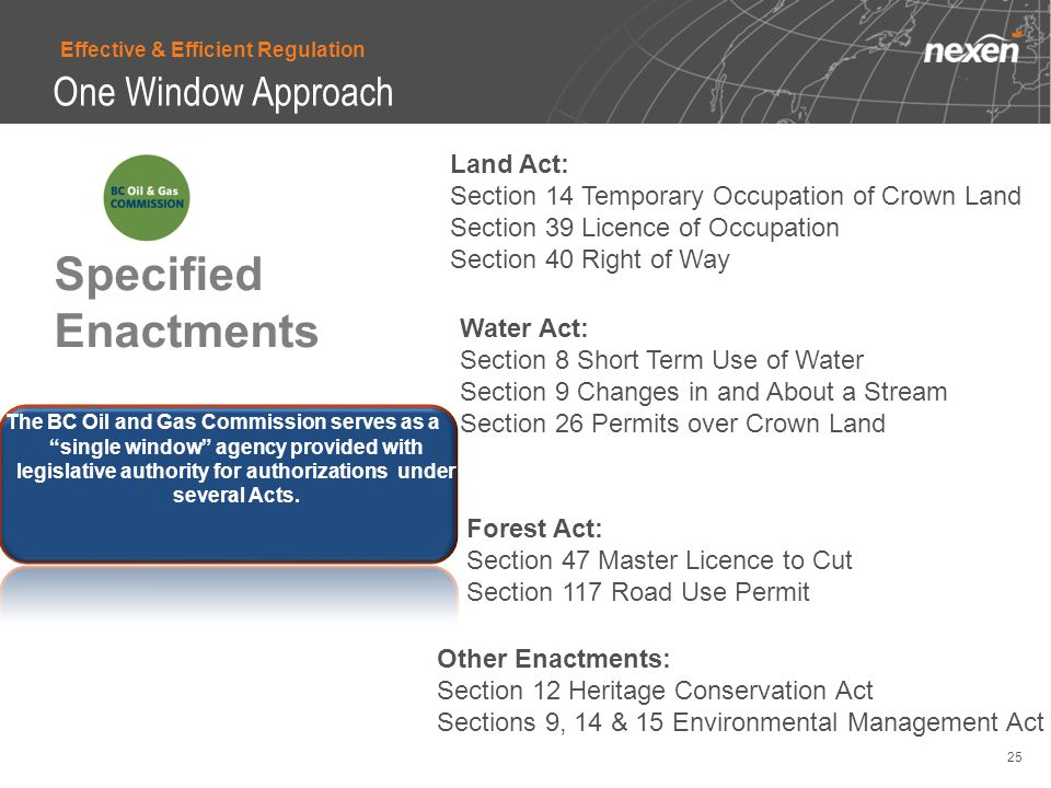 Specified Enactments Land Act: Section 14 Temporary Occupation of Crown Land Section 39 Licence of Occupation Section 40 Right of Way Water Act: Section 8 Short Term Use of Water Section 9 Changes in and About a Stream Section 26 Permits over Crown Land Forest Act: Section 47 Master Licence to Cut Section 117 Road Use Permit Other Enactments: Section 12 Heritage Conservation Act Sections 9, 14 & 15 Environmental Management Act The BC Oil and Gas Commission serves as a single window agency provided with legislative authority for authorizations under several Acts.
