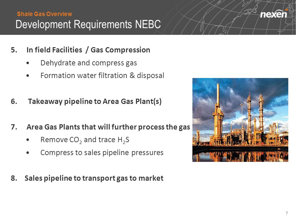 7 5. In field Facilities / Gas Compression Dehydrate and compress gas Formation water filtration & disposal 6.Takeaway pipeline to Area Gas Plant(s) 7