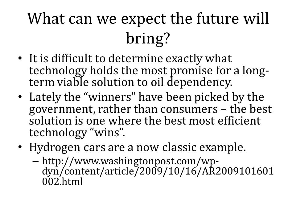 What can we expect the future will bring.