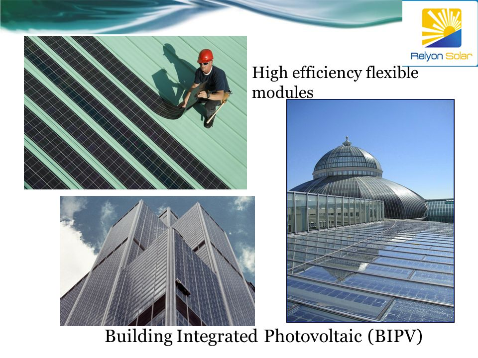 High efficiency flexible modules Building Integrated Photovoltaic (BIPV)