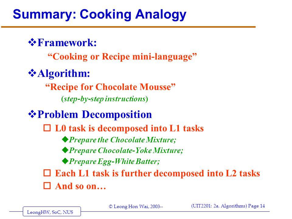 "LeongHW, SoC, NUS (UIT2201: 2a. Algorithms) Page 14 © Leong Hon Wai, 2003-- Summary: Cooking Analogy  Framework: ""Cooking or Recipe mini-language"" "