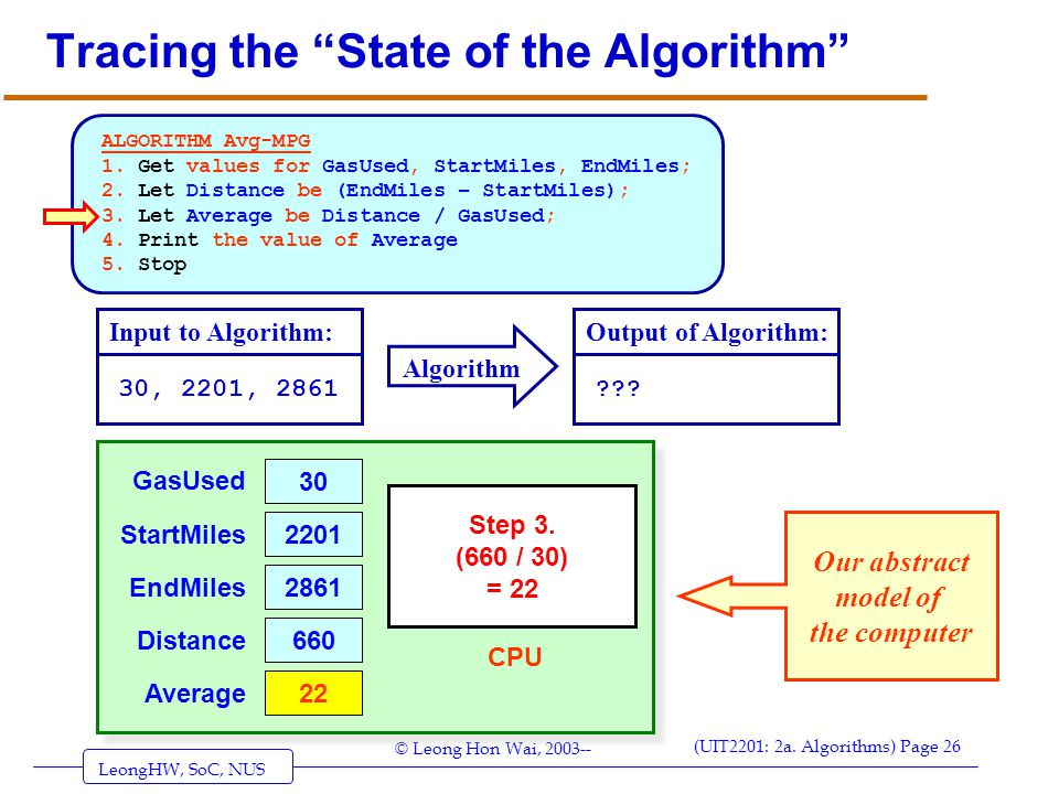 """LeongHW, SoC, NUS (UIT2201: 2a. Algorithms) Page 26 © Leong Hon Wai, 2003-- Tracing the """"State of the Algorithm"""" ALGORITHM Avg-MPG 1. Get values for G"""